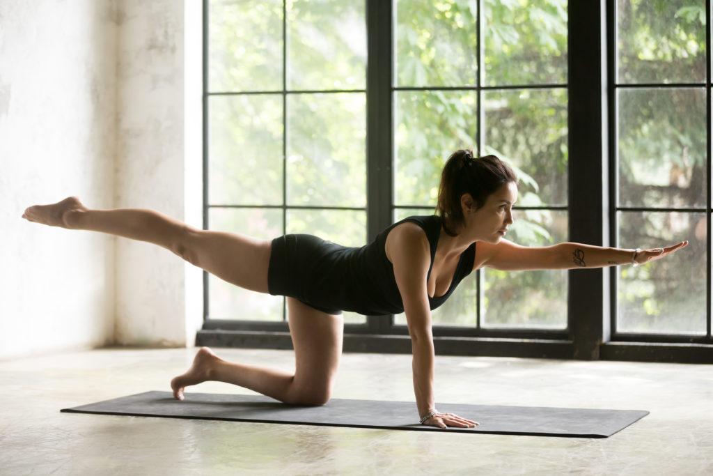 A woman doing bird dog exercise