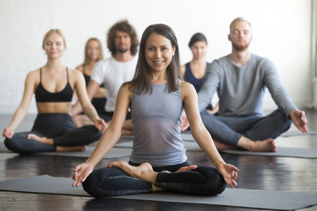 Meditation and stress: a group of people meditating