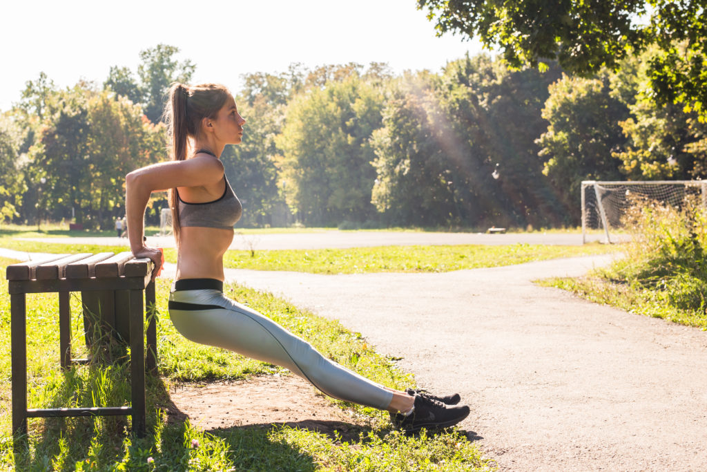 Do bench dips to get rid of flabby arms