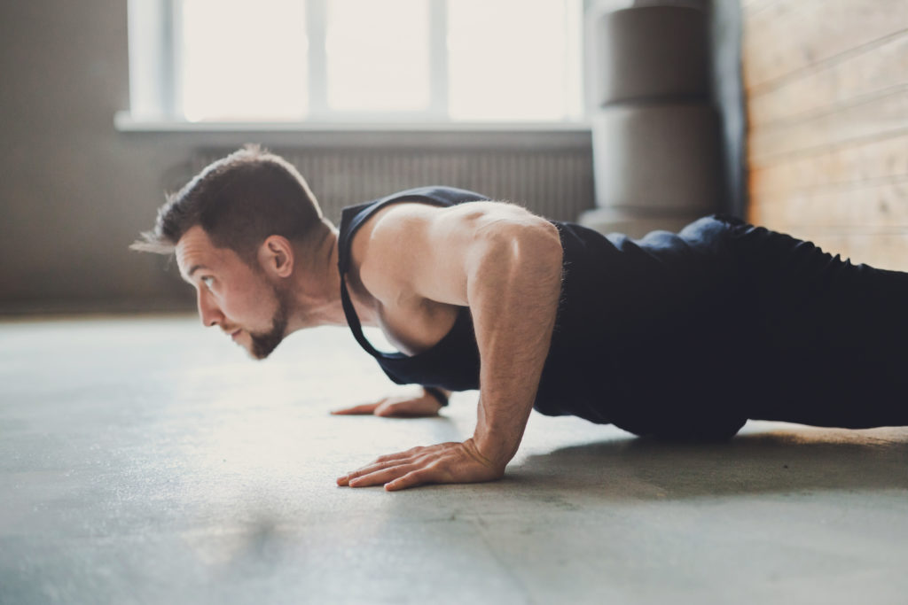 Perform push-ups for the flabby arms challenge