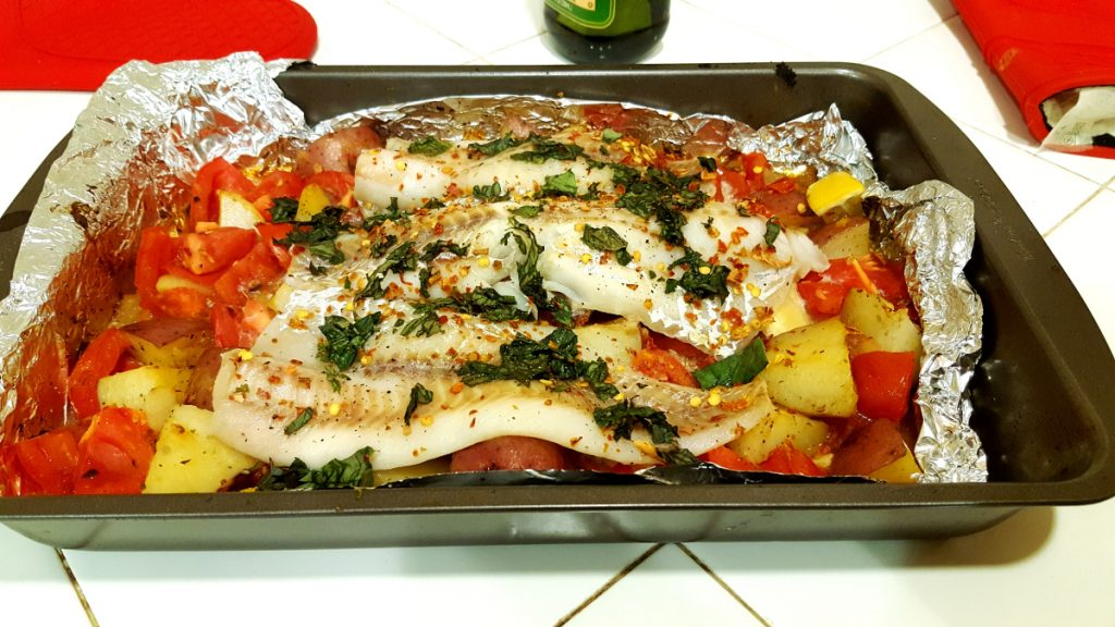 Greek-style roasted fish. Velocity diet