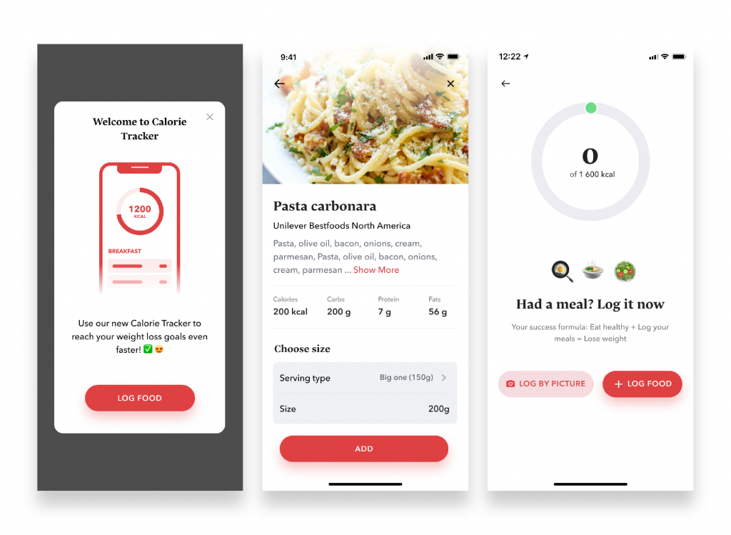 The Interface of the Calorie Tracker from BetterMe
