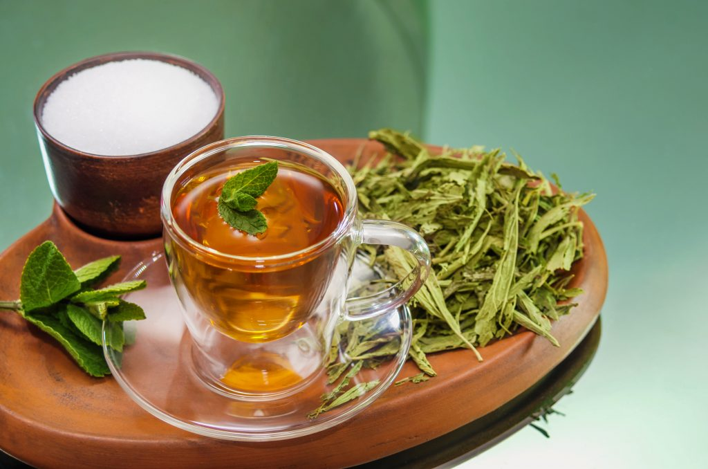 intermittent fasting and herbal tea with stevia